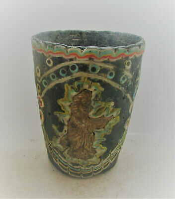Ancient Phoenician Glass Mosiac Vessel With Gold Gilded Plate Attachments