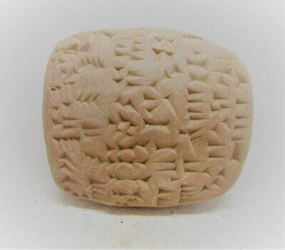 Scarce Circa 3000Bce Ancient Near Eastern Clay Tablet With Early Form Of Writin