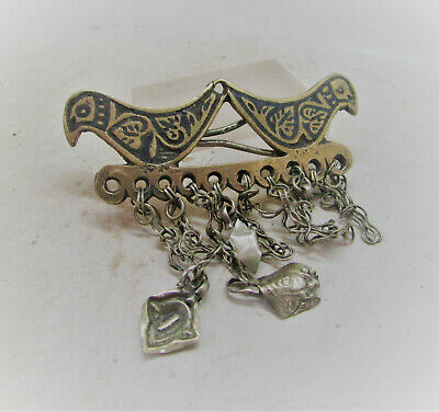 Lovely Late Medieval Islamic Ottoman Silvered Pendant With Birds