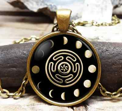 Wheel of Hecate Goddess Symbol Pendant Necklace + Box - Witchcraft Wicca Triple