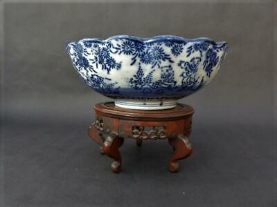 Mid/Late 19th c Meiji Era Japanese Bowl Blue Stenciled Decoration, Dancing Men