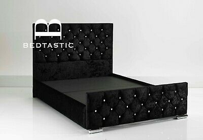 Double Bed Crushed Velvet Fabric StorageChesterfield Sleigh bed frame all sizes