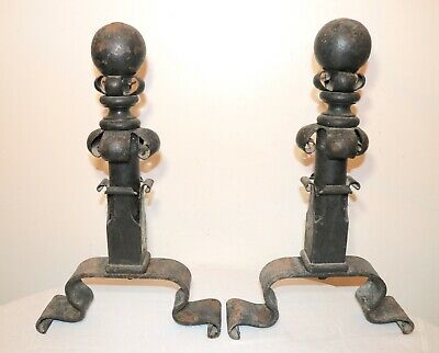LARGE pair antique 1800's hand wrought iron Gothic fireplace andirons firedogs