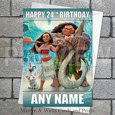 Moana and Māui personalised birthday card. 5x7 inches. Disney.