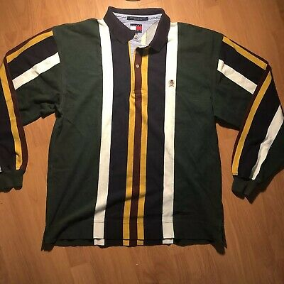 e9583b3c Tommy Hilfiger Striped Long Sleeve Polo Shirt Size XL Men's Multi-Color  Vintage