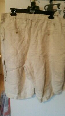 b39bf69677 NWT MEN'S Tommy Bahama 100% Linen Flat Front Draw String Cargo Shorts XL