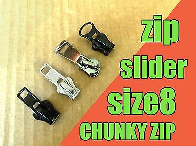 Zipper slider - CHUNKY ZIP  size8 - SILVER Black Metal Gun Zip Slider Zip Repair