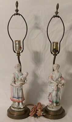 Pair Antique Porcelain & Brass Figural Table Lamps Lady w Water Jug Lady w Baby