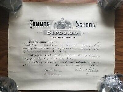 1911 Common School Diploma from Cook co. ILLINOIS Authentic