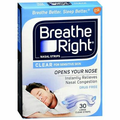 Breathe Right Breathe Right Nasal Bandes Transparent Peau Sensible 30 Lot