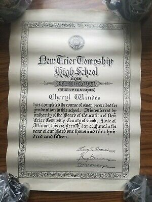 1915 New Trier Township high school Cook county ILLINOIS high school Diploma