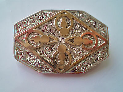 Fine Antique Victorian Sterling Silver & Rose Gold Memerial Brooch c1890