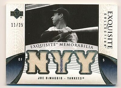 JOE DIMAGGIO 2006 Upper Deck Exquisite TRIPLE JERSEY GOLD /25 w/ PIN YANKEES HOF