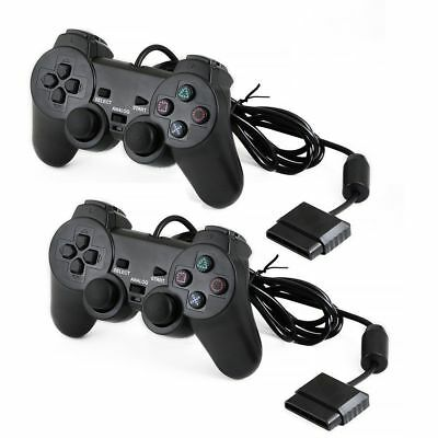 Black Wired Dual Shock Controller for PS2 PlayStation 2 Joypad Gamepad AU