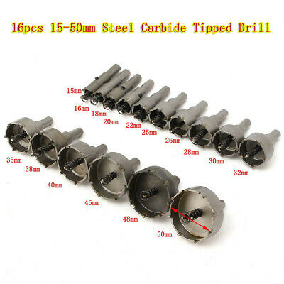 16pcs Steel Carbide Tipped Hole Saw Drill Bit Set Metal Wood Cutter US Stock