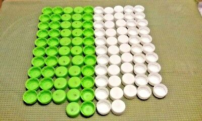100) Used Lot - Plastic Soda Pop Bottle Caps Green White - Recycle Art Craft Lid
