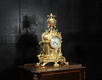 Japy Freres Antique French GIlt Bronze Baroque Clock C1890