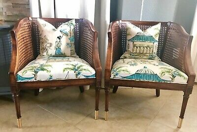 Pair of Vintage Cane Chairs Reupholstered in Charlotte Moss Chinoiserie Fabric
