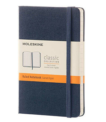 "Moleskine Classic Pocket Notebook Ruled Sapphire Blue Hard Cover 3.5"" X 5.5"""