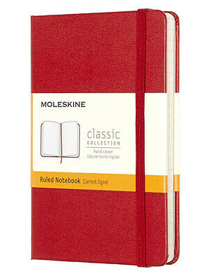 "Moleskine Classic Pocket Notebook Ruled Scarlet Red Hard Cover 3.5"" X 5.5"""