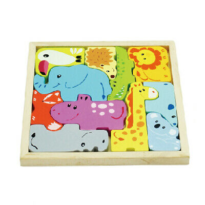 Educational Wooden Animal Cartoon Board 3D Puzzle Building Kid Baby Toys