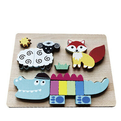 Wooden 3D Puzzle Kids Puzzle Cartoon Animal  Three Dimensional Educational Toy