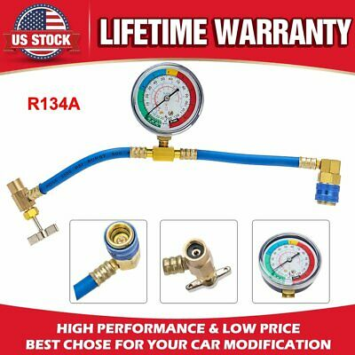 """26/"""" R134a AC HVAC Recharge Measuring Refrigerant Hose Can Tap with Gauge System"""