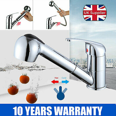 Chrome Brass 360° Rotation Swivel Kitchen Sink Mixer Taps Black Pull Out Tap UK