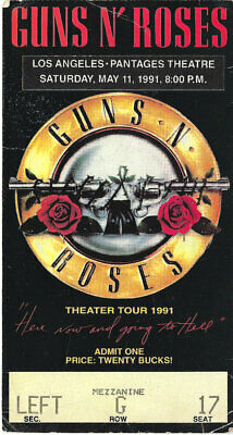 GUNS N ROSES 5-11-91 Ticket Stub PANTAGES THEATER w/setlist GnR XLNT COND!!
