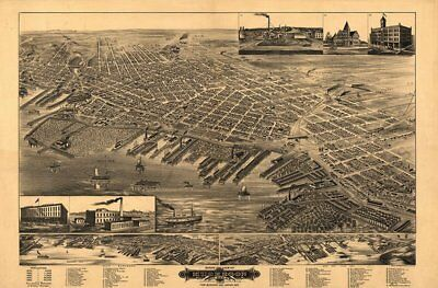 Muskegon Michigan c1889 map 36x24