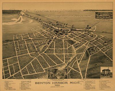 Benton Harbor Michigan c1889 map 31x24