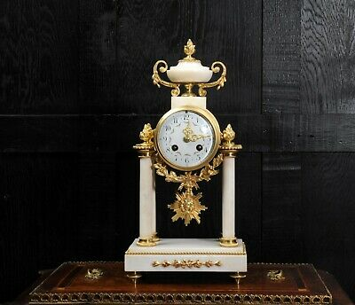 Japy Freres White Marble and Ormolu Portico Clock C1880