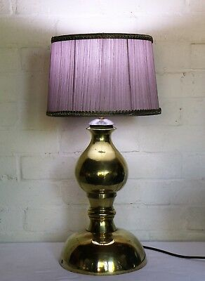 Large Solid & Heavy Vintage Ethnic Brass Table Lamp Handmade African Mid Century