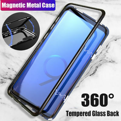 Magnetic Metal Bumper Tempered Glass Case Clear Cover For Samsung Note9 8 S9 8 7