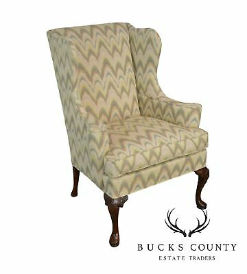 Hickory Chair Mahogany Flame Stitch Queen Anne Wing Chair