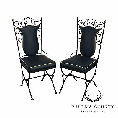 1950's Vintage Scrolled Wrought Iron & Vinyl Pair Side Chairs