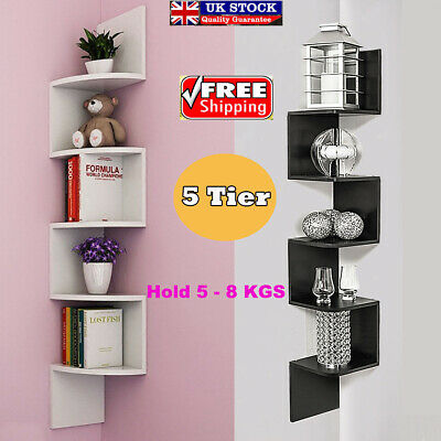 5 Tier Floating Corner Shelf Wall Shelves Storage Display Bookcase Furniture UK