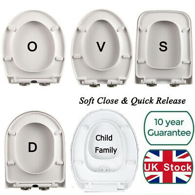 Luxury Toilet Seat WC Heavy Duty White Soft Close Slow Top Quick Release Hinges