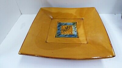 Jane Annois Slab Built Hand Painted Bowl Plate On Feet Australian Studio Pottery