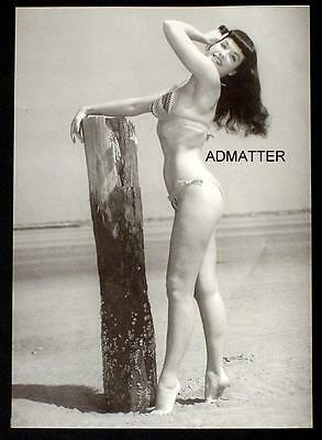 Bettie Page  Vintage Pin-Up Print Sexy 2-Sided Beach Photo! Fire Hot!