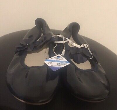 BNWT Zara Girls Patent Navy Embellished Shoes Size 34