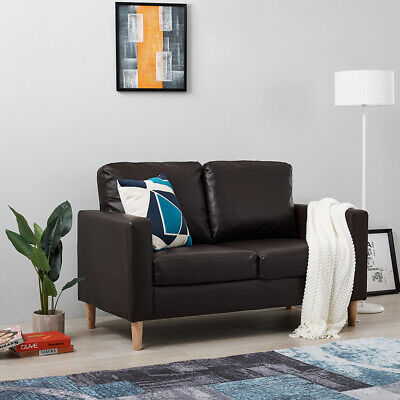 Luxury 2 Seater Black / Brown Faux Leather Sofa with Wood Legs Modern Design