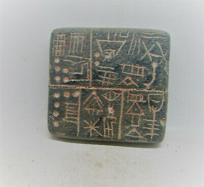Scarce Circa 3000Bce Ancient Near Eastern Stone Panel With Early Form Of Writing