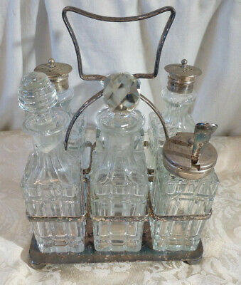 Antique Victorian Silver Plate Cruet Set 6 Piece Glass Bottle Decanter Condiment