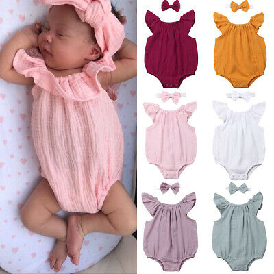 Fashion Boy Girl Newborn Baby 100% Cotton Romper Sunsuit Jumpsuit Clothes Outfit