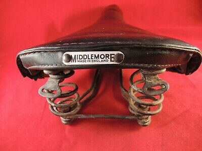 VINTAGE BLACK MIDDLEMORE MATTRESS SPRUNG SADDLE - VINYL AND HORSEHAIR 1960`s?