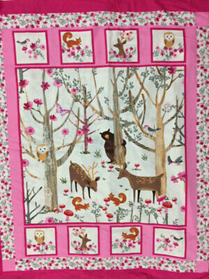 Fabric Animal Squirrel Bear deer Cot Panel Quilting Craft Cotton Material Baby