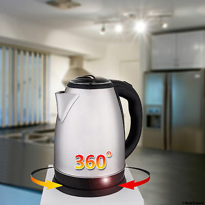 2L PREMIUM STAINLESS STEEL ELECTRIC KETTLE INDICATOR LIGHT SILVER Cordless 360°