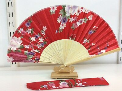 Japanese Silk Hand Fan- Silk Fan Holder and  Display wooden stand