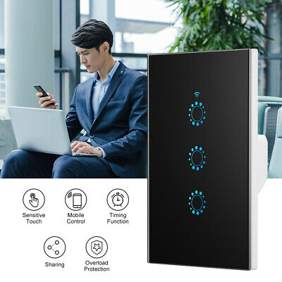 1/2/3 Gang Smart Home WiFi Touch Light Wall Switch Panel For Alexa Google APP
